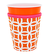 Orange and White Interlocking Circles with Pink Trim Cup Cozy #CCOZ-ORPK