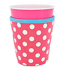 Pink and White Polka Dots with Turquoise Trim Cup Cozy #CCOZ-PKTQ