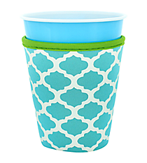 Turquoise and White Geometric Print with Lime Trim Cup Cozy #CCOZ-TQLM