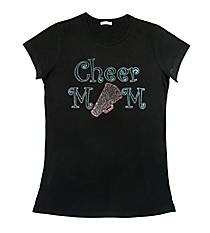 "Sparkling ""Cheer Mom"" Ladies Short Sleeve Fitted T-Shirt 7"" x 9.5"" Design CD02"