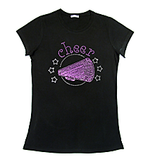 "Sparkling ""Cheer"" Ladies Short Sleeve Fitted T-Shirt 5.5"" x 7"" Design CD03 *Personalize Your Colors"