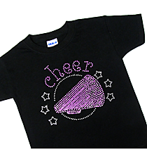 "Sparkling ""Cheer"" Youth Short Sleeve Relaxed Fit T-Shirt 5.5"" x 7"" Design CD03 *Personalize Your Colors"