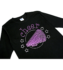 "Sparkling ""Cheer"" Youth Long Sleeve Relaxed T-Shirt 5.5"" x 7"" Design CD03 *Personalize Your Colors"