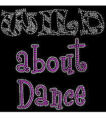 "Sparkling ""Wild About Dance"" 6.5"" x 7"" Rhinestone Applique Iron-On CD08 *Personalize Your Colors"