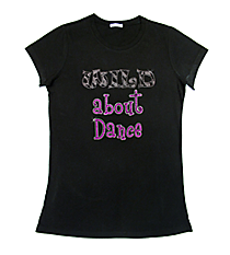 "Sparkling ""Wild About Dance"" Ladies Short Sleeve Fitted T-Shirt 6.5"" x 7"" Design CD08 *Personalize Your Colors"