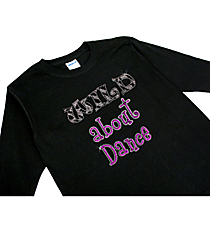 "Sparkling ""Wild About Dance"" Youth Long Sleeve Relaxed T-Shirt 6.5"" x 7"" Design CD08 *Personalize Your Colors"