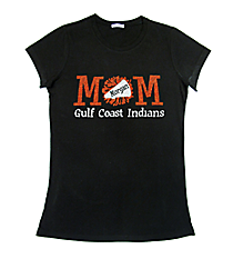 "Glittering ""Cheer Mom"" Ladies Short Sleeve Fitted T-Shirt 9"" x 4"" Design CD09 *Personalize Your Colors"
