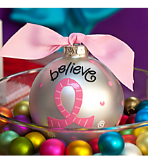 "4.5"" ""Believe, Hope, Pray"" Glass Keepsake Ornament with Gift Box #CELEB-BHP"