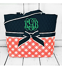 Coral and White Diamond Gingham Quilted Diaper Bag with Navy Trim #CHE2121-CORAL