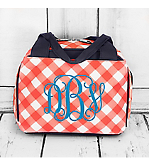 Coral and White Diamond Gingham Insulated Bowler Style Lunch Bag with Navy Trim #CHE255-CORAL