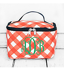 Coral and White Diamond Gingham Case with Navy Trim #CHE277-CORAL