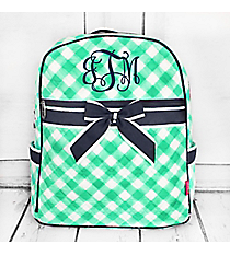 Mint and White Diamond Gingham Quilted Backpack with Navy Trim #CHE2828-MINT