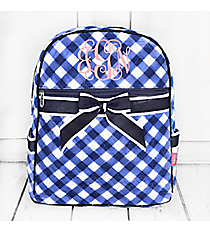 Navy and White Diamond Gingham Quilted Backpack #CHE2828-NAVY