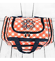 "Coral and White Diamond Gingham Duffle Bag with Navy Trim 17"" #CHE417-CORAL"