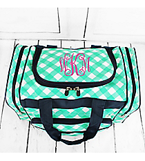 "Mint and White Diamond Gingham Duffle Bag with Navy Trim 17"" #CHE417-MINT"