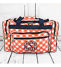 "Coral and White Diamond Gingham Duffle Bag with Navy Trim 20"" #CHE420-CORAL"