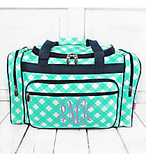 "Mint and White Diamond Gingham Duffle Bag with Navy Trim 20"" #CHE420-MINT"