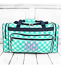 "Mint and White Diamond Gingham Duffle Bag with Navy Trim 23"" #CHE423-MINT"