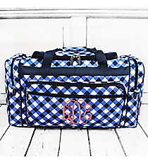 "Navy and White Diamond Gingham Duffle Bag 23"" #CHE423-NAVY"