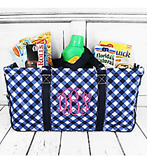 Navy and White Diamond Gingham Collapsible Haul-It-All Basket with Mesh Pockets #CHE603-NAVY