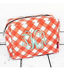 Coral and White Diamond Gingham Cosmetic Case #CHE613-CORAL
