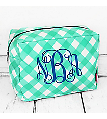 Mint and White Diamond Gingham Cosmetic Case #CHE613-MINT