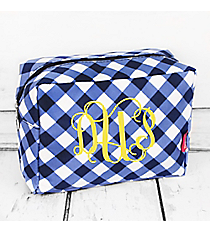 Navy and White Diamond Gingham Cosmetic Case #CHE613-NAVY