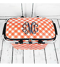 Coral and White Diamond Gingham with Navy Trim Collapsible Insulated Market Basket with Lid #CHE658-CORAL
