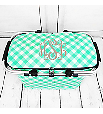 Mint and White Diamond Gingham with Navy Trim Collapsible Insulated Market Basket with Lid #CHE658-MINT