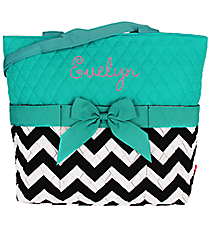 Quilted Chevron Diaper Bag with Aqua Trim #ZIB2121-AQUA