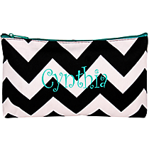 Black Chevron with Aqua Trim 3-Piece Nesting Cosmetic Set #ZIB229-AQUA