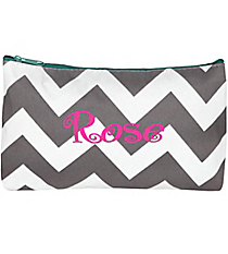Gray Chevron with Aqua Trim 3-Piece Nesting Cosmetic Set #ZIG229-AQUA