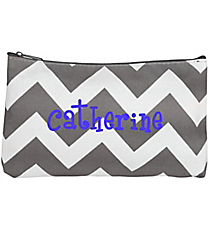 Gray Chevron with Gray Trim 3-Piece Nesting Cosmetic Set #ZIG229-GRAY