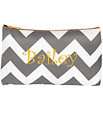 Gray Chevron with Yellow Trim 3-Piece Nesting Cosmetic Set #ZIG229-YELLOW