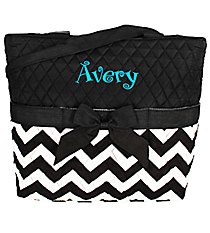 Quilted Chevron Diaper Bag with Black Trim #ZIB2121-BLACK