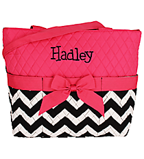 Quilted Chevron Diaper Bag with Hot Pink Trim #ZIB2121-H/PINK