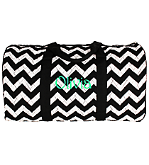 "21"" Black Chevron Quilted Duffle Bag with Black Trim #ZIB2626-BLACK"