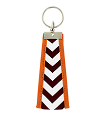 Maroon and White Chevron with Orange Trim Wristlet Key Fob #FOB-MROR