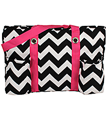 Black Chevron Utility Tote with Hot Pink Trim #ZIB585-HPINK