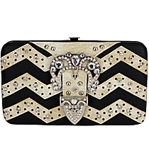Black and Beige Chevron Buckle Flat Wallet #FW2070PWV-BLK/WHT
