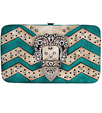 Turquoise and Beige Chevron Buckle Flat Wallet #FW2070PWV-TURQ/WHT