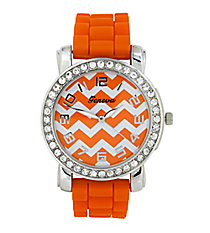 Orange Chevron Face Jelly Watch with Crystal Surround #10255ZZ-ORANGE