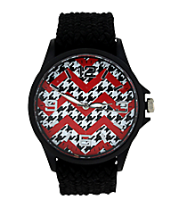 Houndstooth and Red Chevron Black Fabric Band Watch #10436-BLACK