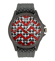 Houndstooth and Red Chevron Grey Fabric Band Watch #10436-GREY