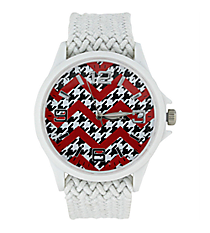 Houndstooth and Red Chevron White Fabric Band Watch #10436-WHITE