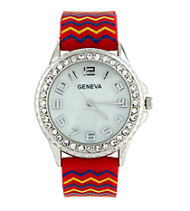 Red, Yellow, and Blue Chevron Jelly Watch with Crystal Surround #5573ZZB-RED