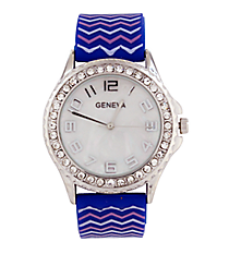 Royal Blue, Light Blue and Pink Chevron Jelly Watch with Crystal Surround #5573ZZB-ROYAL