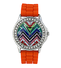 Rainbow Chevron Tangerine Jelly Watch with Crystal Surround #5573ZZM-TANGERINE