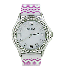 Purple and White Chevron Jelly Watch with Crystal Surround #5573ZZW-PURPLE