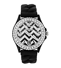 Black and White Chevron Braided Jelly Watch with Crystal Surround #7827-BLK